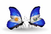Two Butterflies With Flags On Wings As Symbol Of Relations Argentina And Salvador