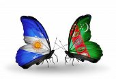 Two Butterflies With Flags On Wings As Symbol Of Relations Argentina And Turkmenistan