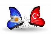 Two Butterflies With Flags On Wings As Symbol Of Relations Argentina And Turkey