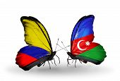 Two Butterflies With Flags On Wings As Symbol Of Relations Columbia And Azerbaijan