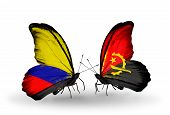 Two Butterflies With Flags On Wings As Symbol Of Relations Columbia And Angola