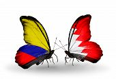 Two Butterflies With Flags On Wings As Symbol Of Relations Columbia And Bahrain