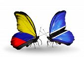 Two Butterflies With Flags On Wings As Symbol Of Relations Columbia And Botswana