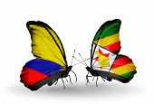 Two Butterflies With Flags On Wings As Symbol Of Relations Columbia And Zimbabwe