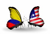 Two Butterflies With Flags On Wings As Symbol Of Relations Columbia And Liberia