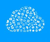 Social network, communication in the global computer networks. Interface icons in the form of a cloud. Monochrome flat vector illustration