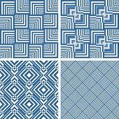 Seamless geometric checked textures set. Vector art.