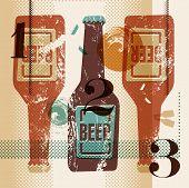 Vintage grunge style poster with a beer bottles. Retro vector illustration.