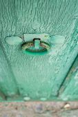 Painted wooden door and iron nails in perspective