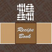 picture of recipe card  - Recipes card with different kitchen accessories and a banner - JPG