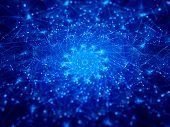 Blue Glowing Connections In Space