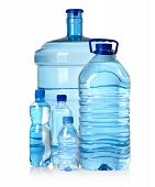 picture of bottle water  - Different water bottles isolated on white with clipping path - JPG