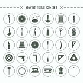 Sewing And Hobby Tools Icons Set