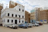 Central square of Shibam town, Hadramaut valley, Yemen.