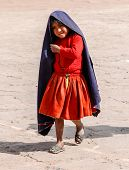Local Peruvian Girl, Lake Titicaca, Peru
