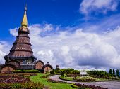 Stupa and garden on the top of Doi Inthanon, Thailand