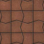 Brown Pavement with a Pattern of broken squares.