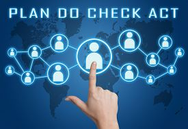 pic of plan-do-check-act  - Plan Do Check Act concept with hand pressing social icons on blue world map background - JPG