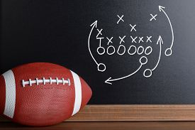 stock photo of football pitch  - Football Play Strategy Drawn Out On A Chalk Board With Rugby Ball - JPG