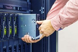 picture of cat5  - replacement of faulty blade server in chassis the platform virtualization in the data center server rack - JPG