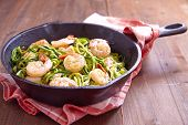 picture of shrimp  - Low carb zucchini spaghetti with shrimp in a pan - JPG