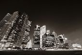 image of singapore night  - Singapore skyline at night with urban buildings - JPG