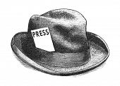 stock photo of fedora  - Vintage engraving styled digital illustration of a fedora hat with a press card - JPG