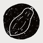 stock photo of papaya  - Papaya Doodle - JPG