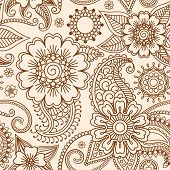 pic of henna tattoo  - Henna mehndi tattoo doodle seamless pattern vector background - JPG