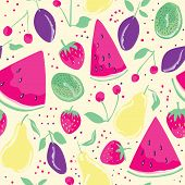 picture of watermelon slices  - Seamless pattern with summer fruits and berries  in cartoon style - JPG