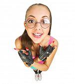 image of nerd  - Funny schoolgirl with nerd glasses isolated - JPG