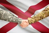 picture of alabama  - Soldiers handshake and US state flag  - JPG