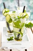 pic of refreshing  - Refreshing mojito drink on white rustic table - JPG
