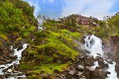 image of waterfalls  - Famous waterfall Laatefossen in Hardanger Norway  - JPG