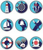 image of life-boat  - Nautical elements I icons in knotted circle including  boat bell - JPG