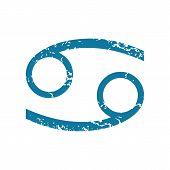 pic of cancer horoscope icon  - Grunge blue icon with zodiac cancer symbol - JPG