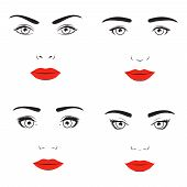 foto of personality  - Woman face silhouette set - JPG