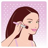 pic of blush  - Vector illustration of a beautiful young woman putting blush on her cheeks - JPG