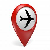 picture of aeroplane symbol  - Red airport search finder icon with a plane symbol - JPG