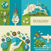 picture of save earth  - Flat design vector concept illustration with icons of ecology - JPG