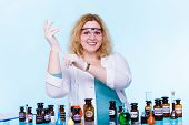 stock photo of scientific research  - Experiment research in progress - JPG