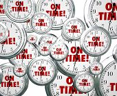pic of punctuality  - On Time words on clocks flying by to illustrate punctuality for staying on schedule for meeting and improtant appointments or events - JPG
