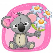 stock photo of koala  - Greeting card Koala with flowers on a pink background - JPG