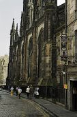 picture of mile  - Tourist walking in Castlehill Street Royal Mile - JPG