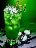 pic of mint-green  - Green drink  with crushed ice and mint leaf on dark background 43 - JPG