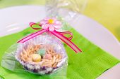 image of easter candy  - Home made Easter treats formed into a nest and filled with candy coated chocolate eggs for a perfect party favor - JPG
