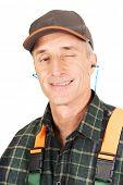 picture of blinking  - Experienced gardener blinks his eye - JPG