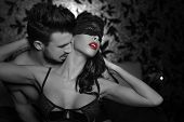picture of desire  - Passionate couple foreplay at night selective coloring kissing neck - JPG