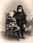 Vintage Photo - Little Sister And Brother.