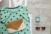 picture of outfits  - Overhead of essentials vintage woman - JPG